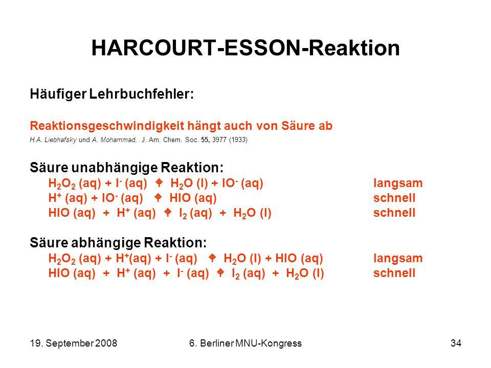 19. September 20086. Berliner MNU-Kongress34 HARCOURT-ESSON-Reaktion Häufiger Lehrbuchfehler: Reaktionsgeschwindigkeit hängt auch von Säure ab H.A. Li