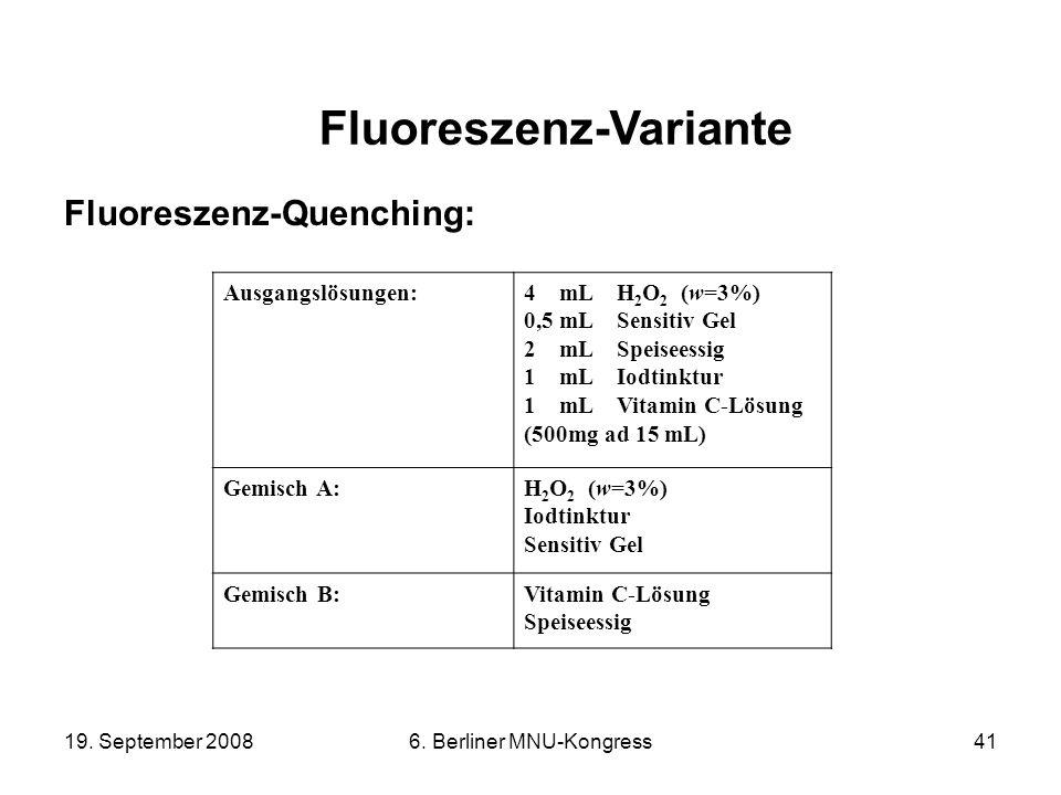19. September 20086. Berliner MNU-Kongress41 Fluoreszenz-Quenching: Fluoreszenz-Variante Ausgangslösungen:4 mL H 2 O 2 (w=3%) 0,5 mL Sensitiv Gel 2 mL