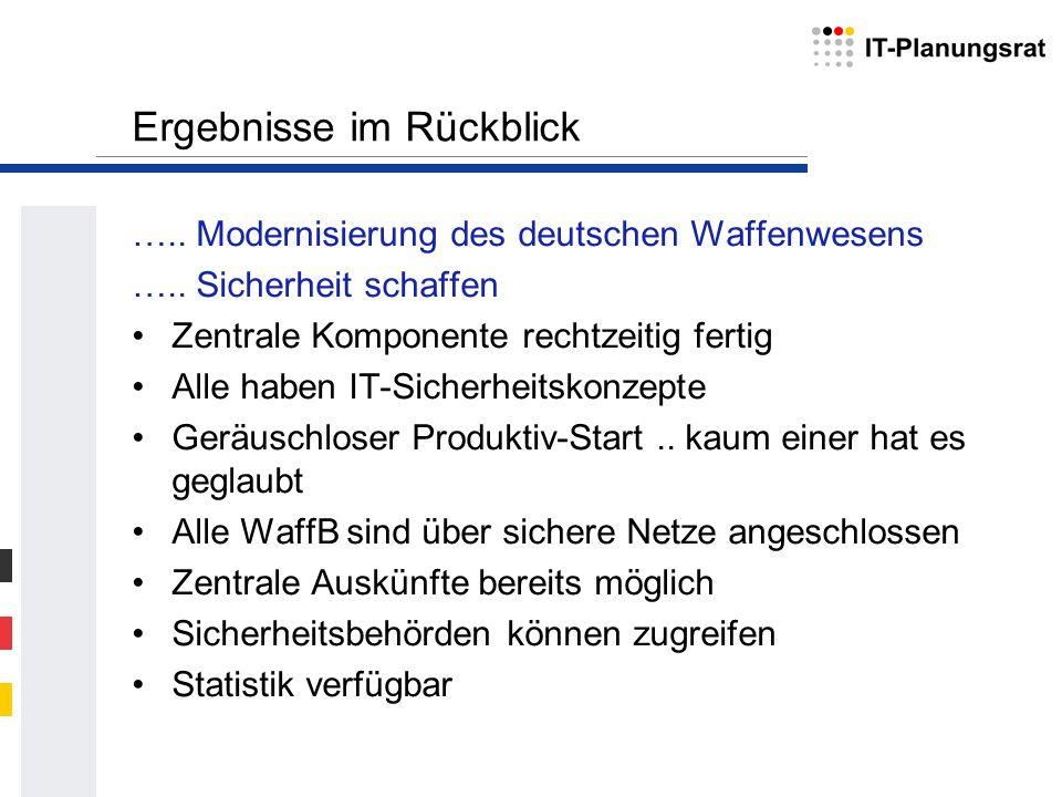 Ergebnisse im Rückblick ….. Modernisierung des deutschen Waffenwesens ….. Sicherheit schaffen Zentrale Komponente rechtzeitig fertig Alle haben IT-Sic