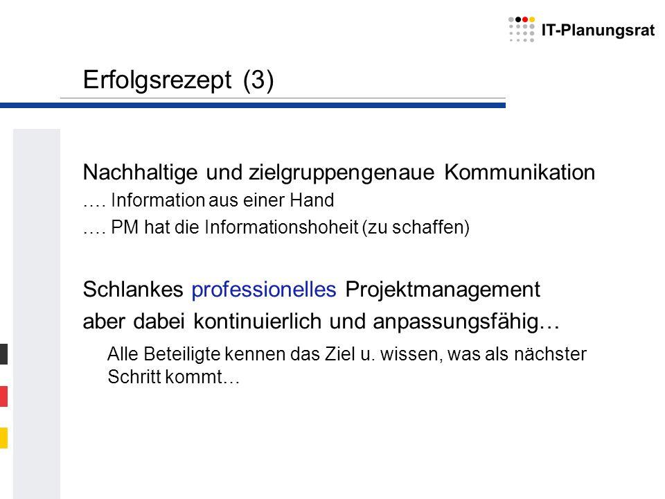 Erfolgsrezept (3) Nachhaltige und zielgruppengenaue Kommunikation …. Information aus einer Hand …. PM hat die Informationshoheit (zu schaffen) Schlank
