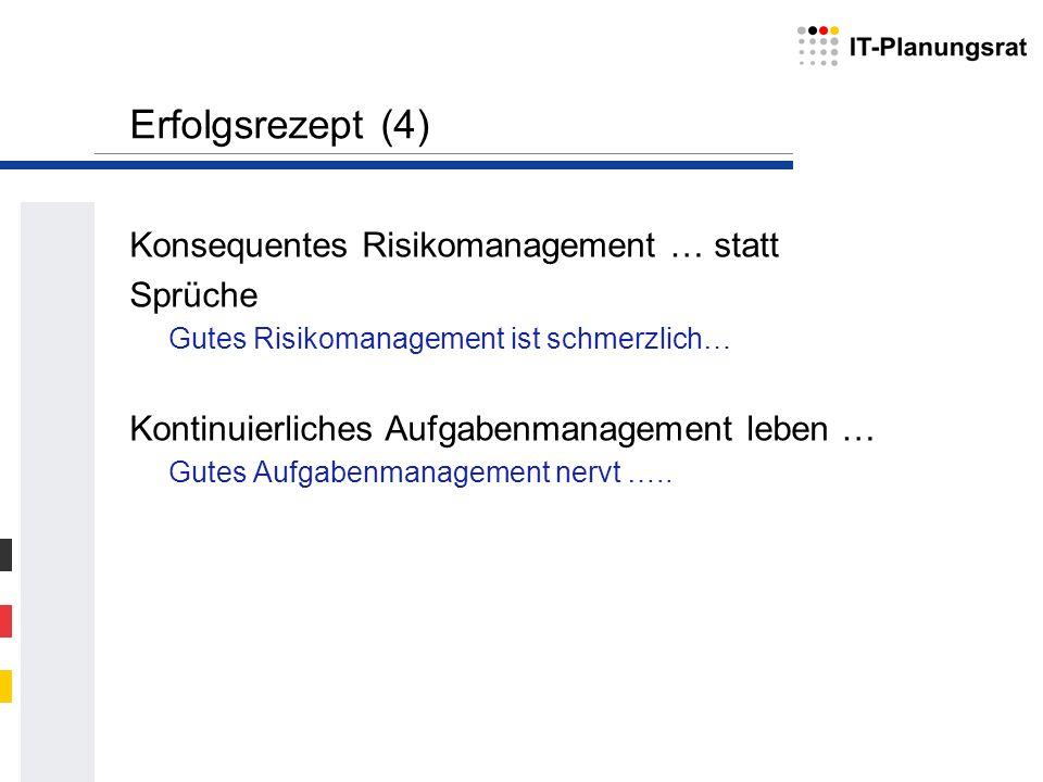 Erfolgsrezept (4) Konsequentes Risikomanagement … statt Sprüche Gutes Risikomanagement ist schmerzlich… Kontinuierliches Aufgabenmanagement leben … Gu