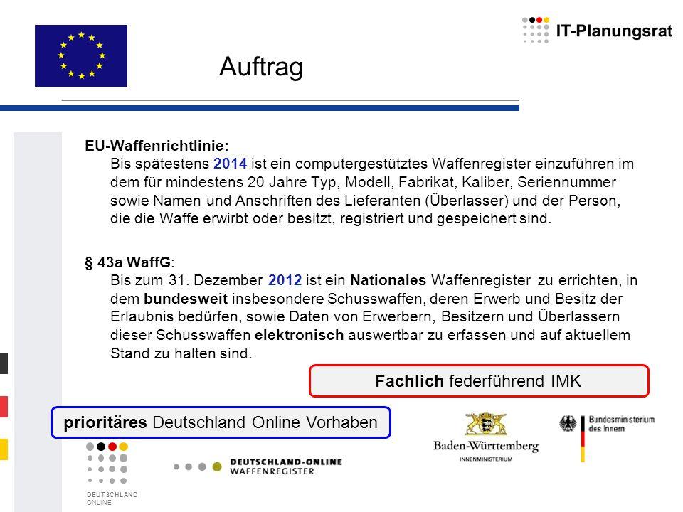 EU-Waffenrichtlinie: Bis spätestens 2014 ist ein computergestütztes Waffenregister einzuführen im dem für mindestens 20 Jahre Typ, Modell, Fabrikat, K