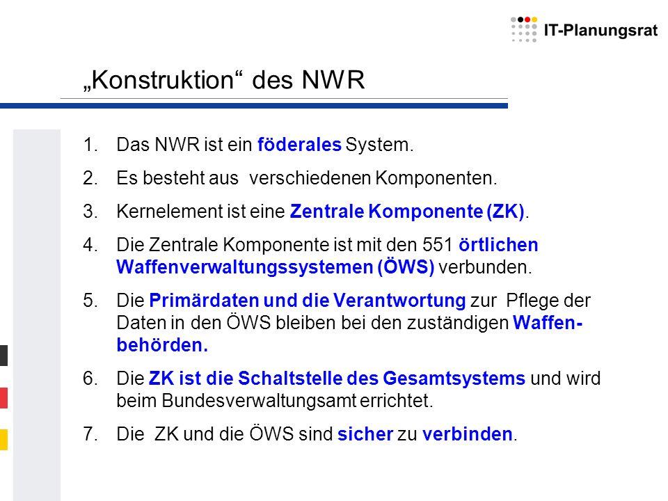 Konstruktion des NWR 1.Das NWR ist ein föderales System. 2.Es besteht aus verschiedenen Komponenten. 3.Kernelement ist eine Zentrale Komponente (ZK).