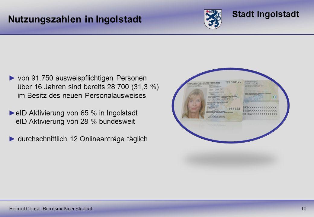 Stadt Ingolstadt Nutzungszahlen in Ingolstadt Helmut Chase, Berufsmäßiger Stadtrat10 von 91.750 ausweispflichtigen Personen über 16 Jahren sind bereit