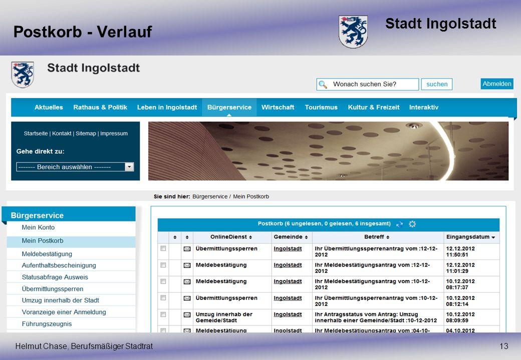 Stadt Ingolstadt Postkorb - Verlauf Helmut Chase, Berufsmäßiger Stadtrat13