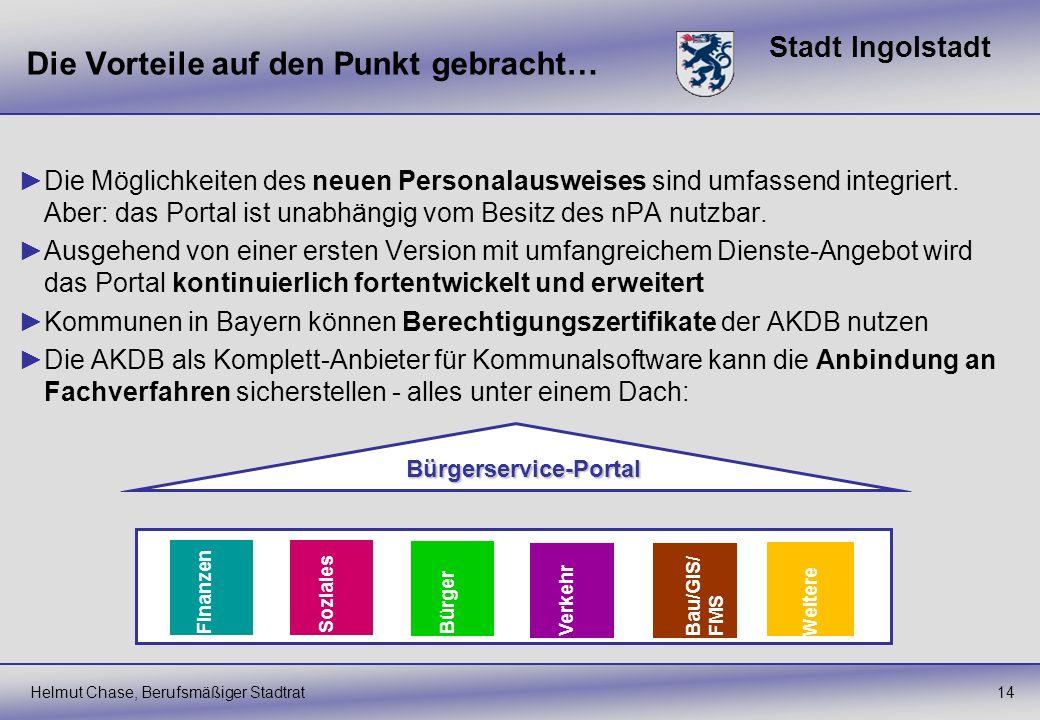 Stadt Ingolstadt Die Vorteile auf den Punkt gebracht… 14 Die Möglichkeiten des neuen Personalausweises sind umfassend integriert. Aber: das Portal ist