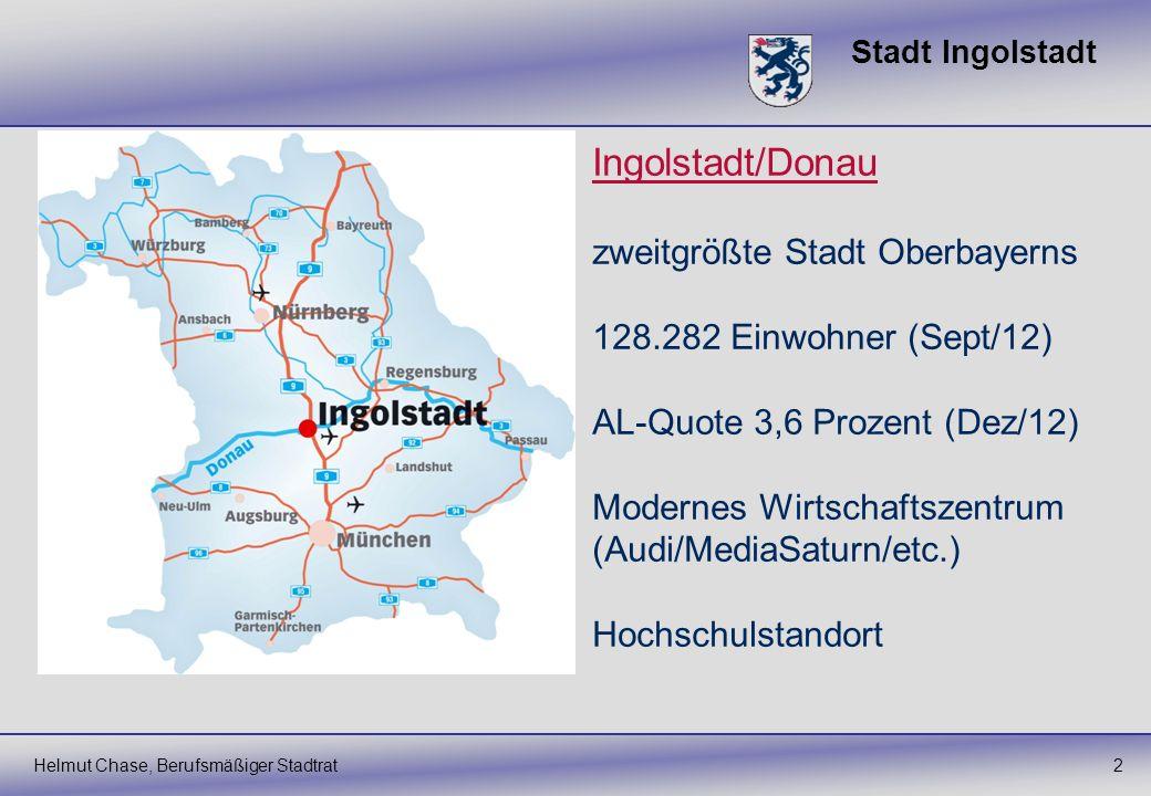 Stadt Ingolstadt 2Helmut Chase, Berufsmäßiger Stadtrat Ingolstadt/Donau zweitgrößte Stadt Oberbayerns 128.282 Einwohner (Sept/12) AL-Quote 3,6 Prozent
