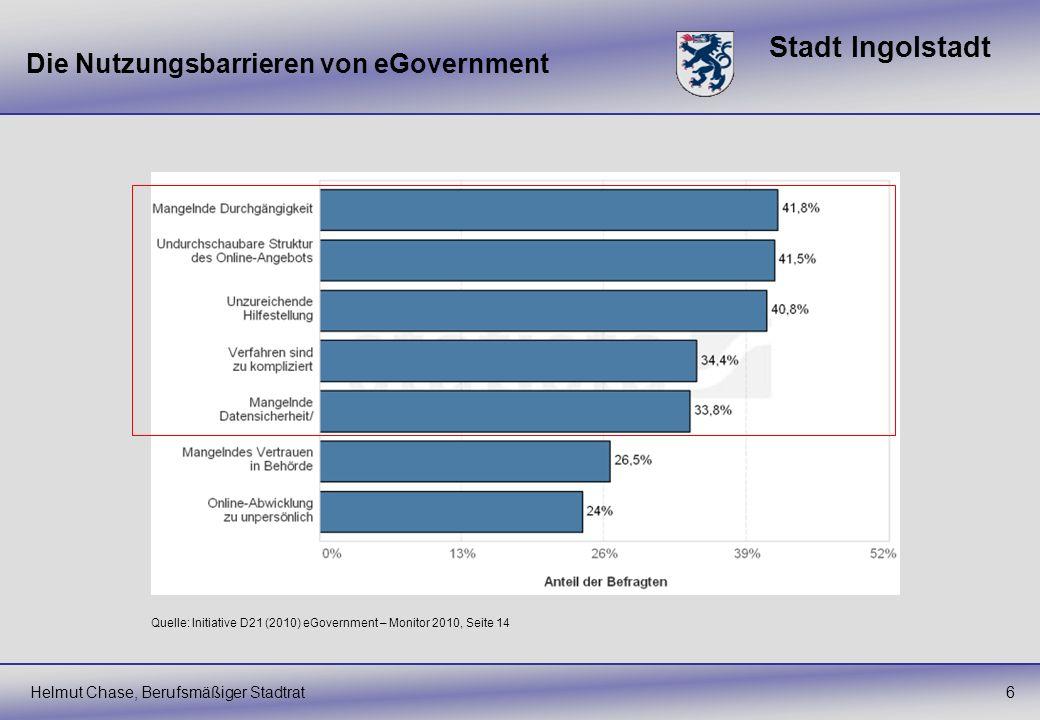 Stadt Ingolstadt 6 Die Nutzungsbarrieren von eGovernment Quelle: Initiative D21 (2010) eGovernment – Monitor 2010, Seite 14 Helmut Chase, Berufsmäßige