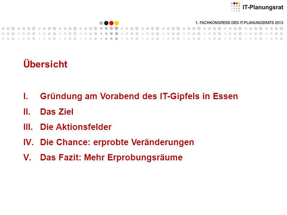 I.Gründung am Vorabend des IT-Gipfels in Essen Vereinbarung zur Zusammenarbeit im Erprobungsraum Rheinland für innovative, vernetzte Verwaltung Letter of Intent zur Zusammenarbeit des Erprobungsraumes Rheinland mit der Metropolregion Rhein-Neckar