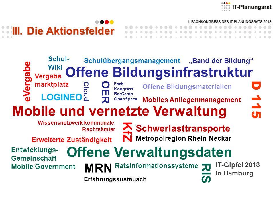 Offene Bildungsinfrastruktur Mobile und vernetzte Verwaltung Offene Verwaltungsdaten Schwerlasttransporte eVergabe D 115 Mobiles Anliegenmanagement Ra