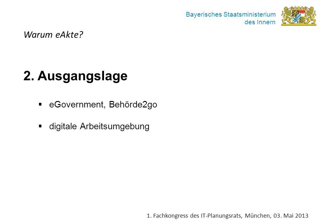 Bayerisches Staatsministerium des Innern Warum eAkte? 2. Ausgangslage eGovernment, Behörde2go digitale Arbeitsumgebung 1. Fachkongress des IT-Planungs