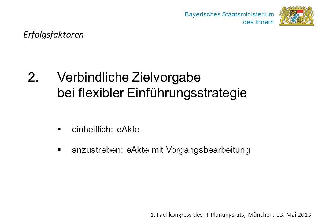 Bayerisches Staatsministerium des Innern 2.Verbindliche Zielvorgabe bei flexibler Einführungsstrategie einheitlich: eAkte anzustreben: eAkte mit Vorga