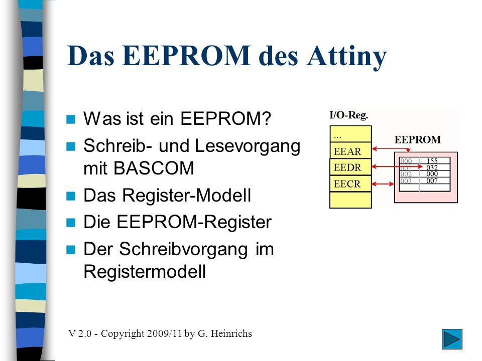 Das EEPROM des Attiny Was ist ein EEPROM? Schreib- und Lesevorgang mit BASCOM Das Register-Modell Die EEPROM-Register Der Schreibvorgang im Registermo