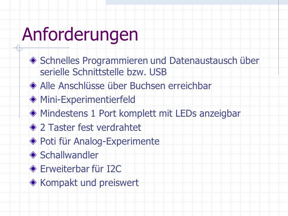 Anforderungen Schnelles Programmieren und Datenaustausch über serielle Schnittstelle bzw. USB Alle Anschlüsse über Buchsen erreichbar Mini-Experimenti