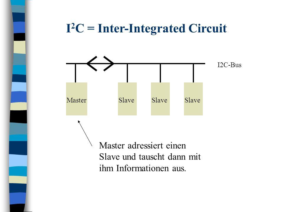 I2C-Bus MasterSlave I 2 C = Inter-Integrated Circuit Master adressiert einen Slave und tauscht dann mit ihm Informationen aus.