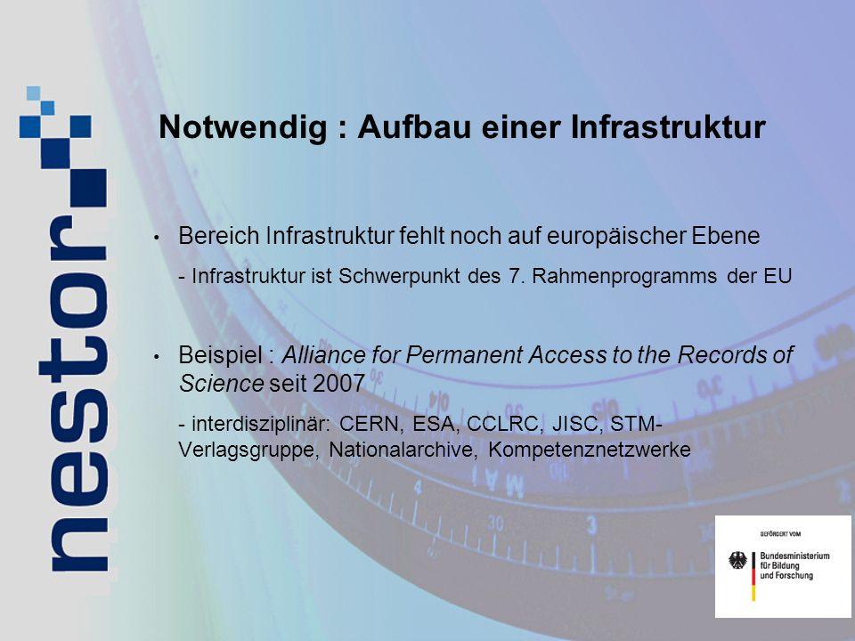 Notwendig : Aufbau einer Infrastruktur Bereich Infrastruktur fehlt noch auf europäischer Ebene - Infrastruktur ist Schwerpunkt des 7. Rahmenprogramms