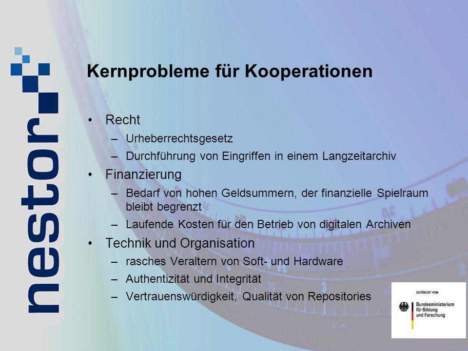 Kernprobleme für Kooperationen Recht –Urheberrechtsgesetz –Durchführung von Eingriffen in einem Langzeitarchiv Finanzierung –Bedarf von hohen Geldsumm