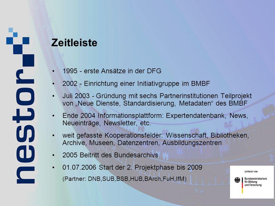 Zeitleiste 1995 - erste Ansätze in der DFG 2002 - Einrichtung einer Initiativgruppe im BMBF Juli 2003 - Gründung mit sechs Partnerinstitutionen Teilpr