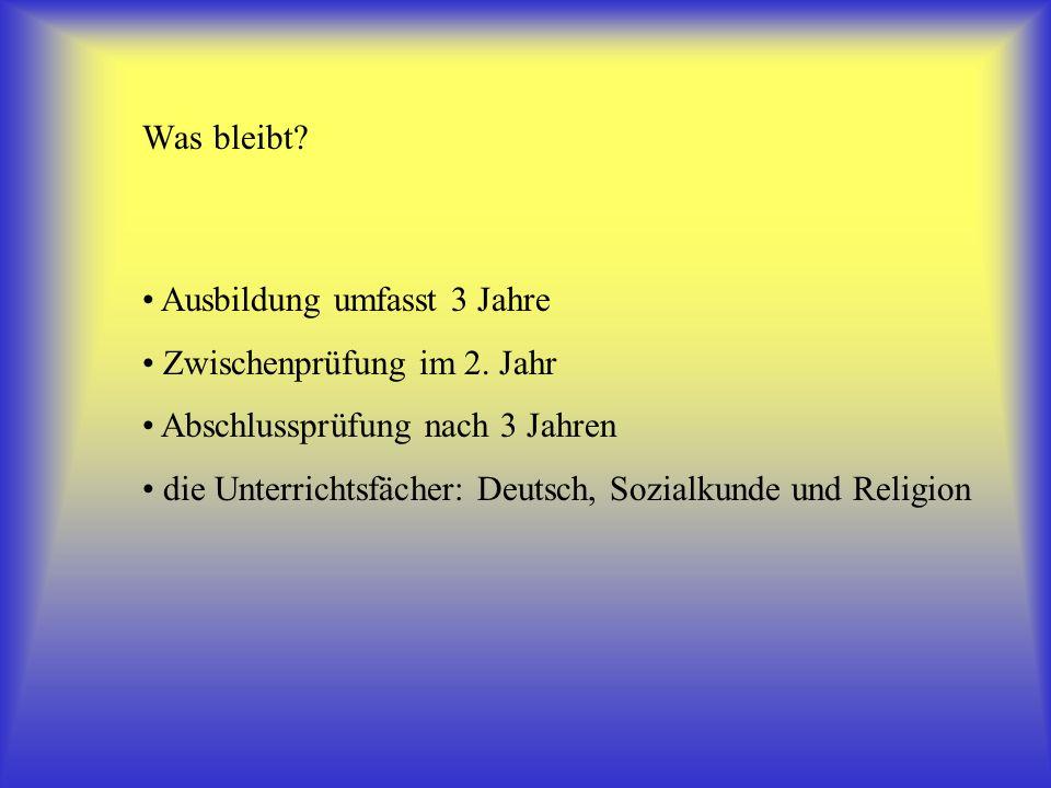 Ausbildung umfasst 3 Jahre Zwischenprüfung im 2. Jahr Abschlussprüfung nach 3 Jahren die Unterrichtsfächer: Deutsch, Sozialkunde und Religion Was blei