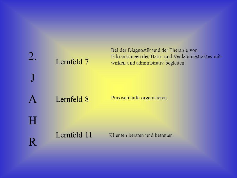 2. J A H R Lernfeld 7 Lernfeld 8 Lernfeld 11 Bei der Diagnostik und der Therapie von Erkrankungen des Harn- und Verdauungstraktes mit- wirken und admi