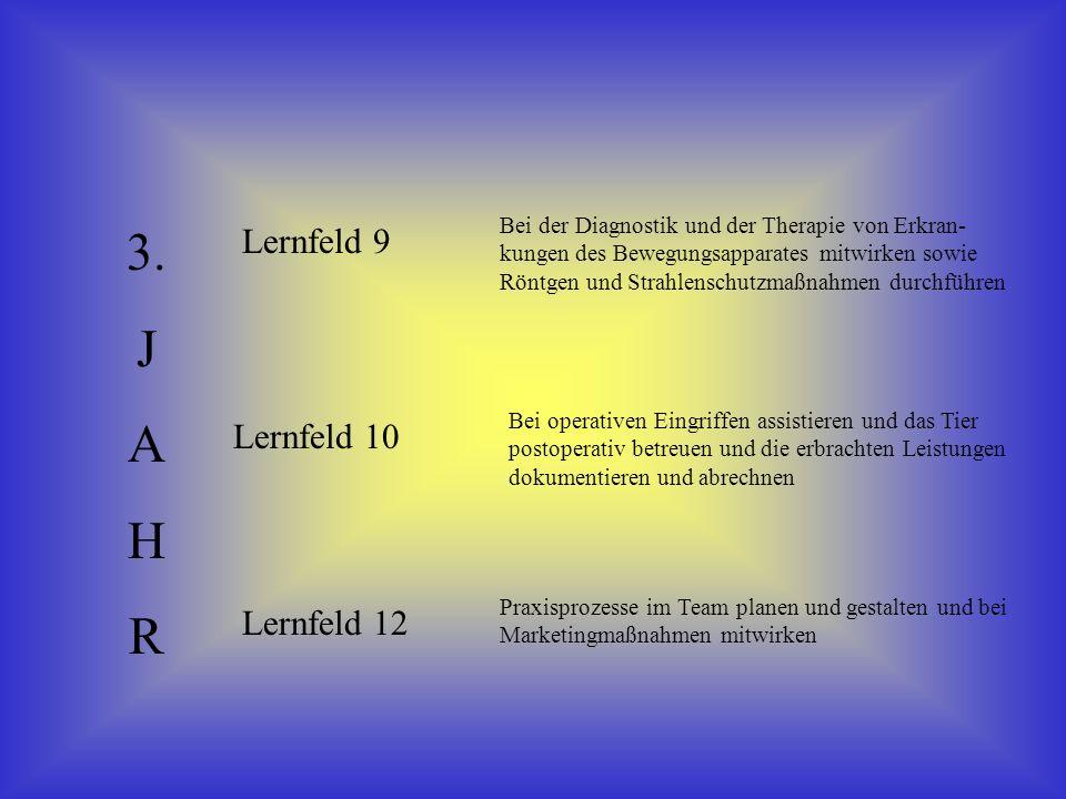 3. J A H R Lernfeld 9 Lernfeld 10 Lernfeld 12 Bei der Diagnostik und der Therapie von Erkran- kungen des Bewegungsapparates mitwirken sowie Röntgen un
