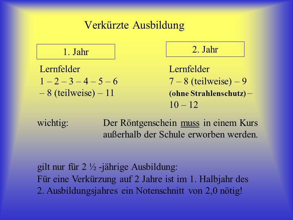 Verkürzte Ausbildung 1. Jahr 2. Jahr Lernfelder 1 – 2 – 3 – 4 – 5 – 6 – 8 (teilweise) – 11 Lernfelder 7 – 8 (teilweise) – 9 (ohne Strahlenschutz) – 10