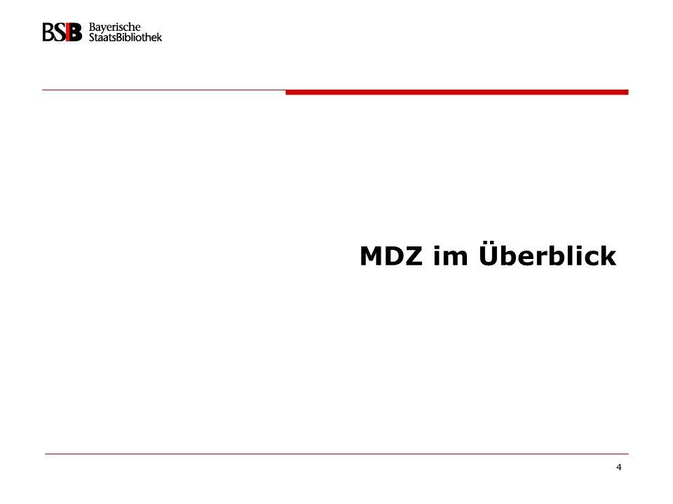 5 Das Münchener Digitalisierungszentrum (MDZ) 1997 Gegründet als Einrichtung der Bayerischen Staatsbibliothek, gefördert durch die DFG als eines von zwei nationalen Digitalisierungszentren (neben GDZ) 2003 verstetigt als Referat Digitale Bibliothek der Hauptabteilung Bestandsaufbau & Erschließung Ziel: Integration des MDZ als zentrales Produktions-Rückgrat Personal heute: 5 Planstellen und 25 drittmittelfinanzierte Stellen (DFG, Freistaat, EU)