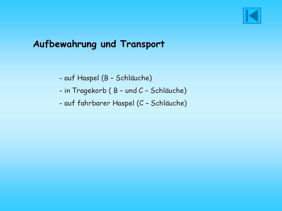 Aufbewahrung und Transport - auf Haspel (B – Schläuche) - in Tragekorb ( B – und C – Schläuche) - auf fahrbarer Haspel (C – Schläuche)