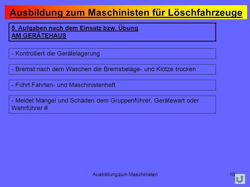 Ausbildung zum Maschinisten10 5.Aufgaben nach dem Einsatz bzw.