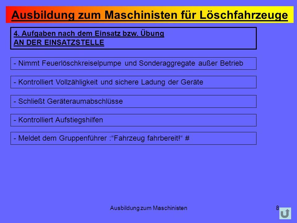 Ausbildung zum Maschinisten9 5.Aufgaben nach dem Einsatz bzw.