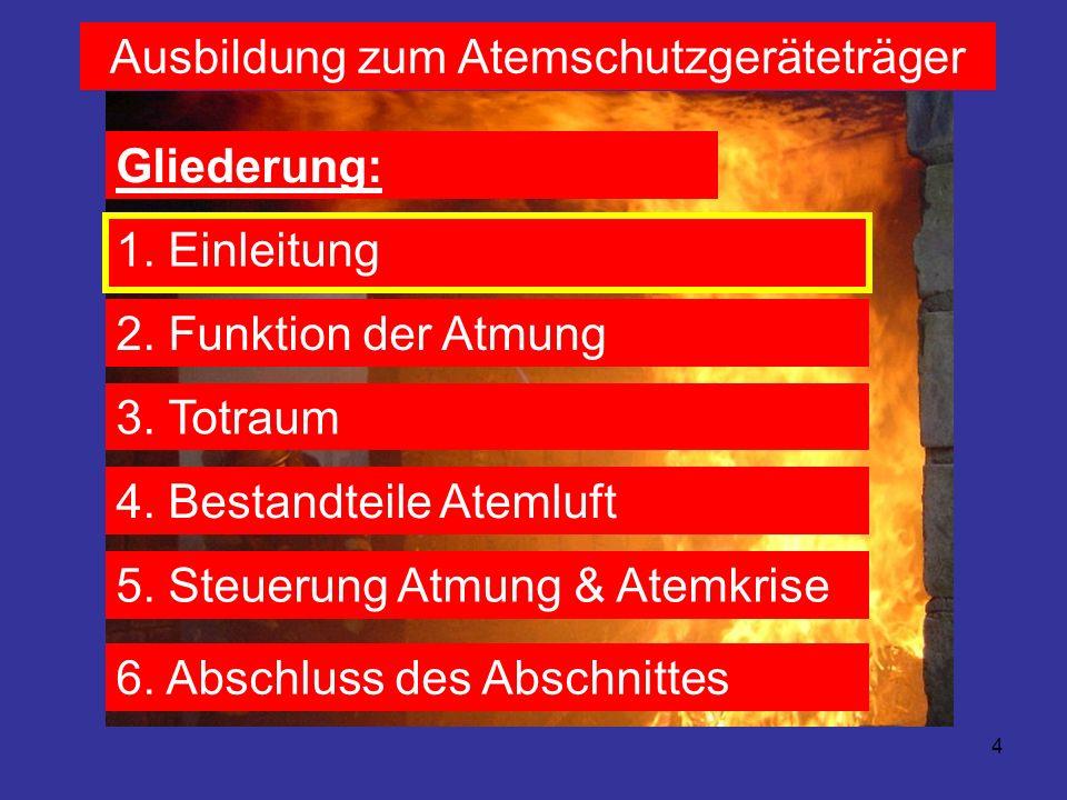 15 Ausbildung zum Atemschutzgeräteträger Gliederung: 1.