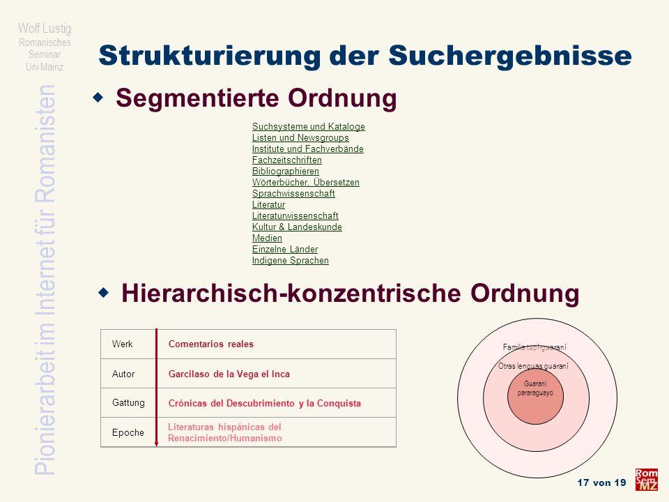 Pionierarbeit im Internet für Romanisten Wolf Lustig Romanisches Seminar Uni Mainz 17 von 19 Strukturierung der Suchergebnisse Familia tupí-guaraní Ot