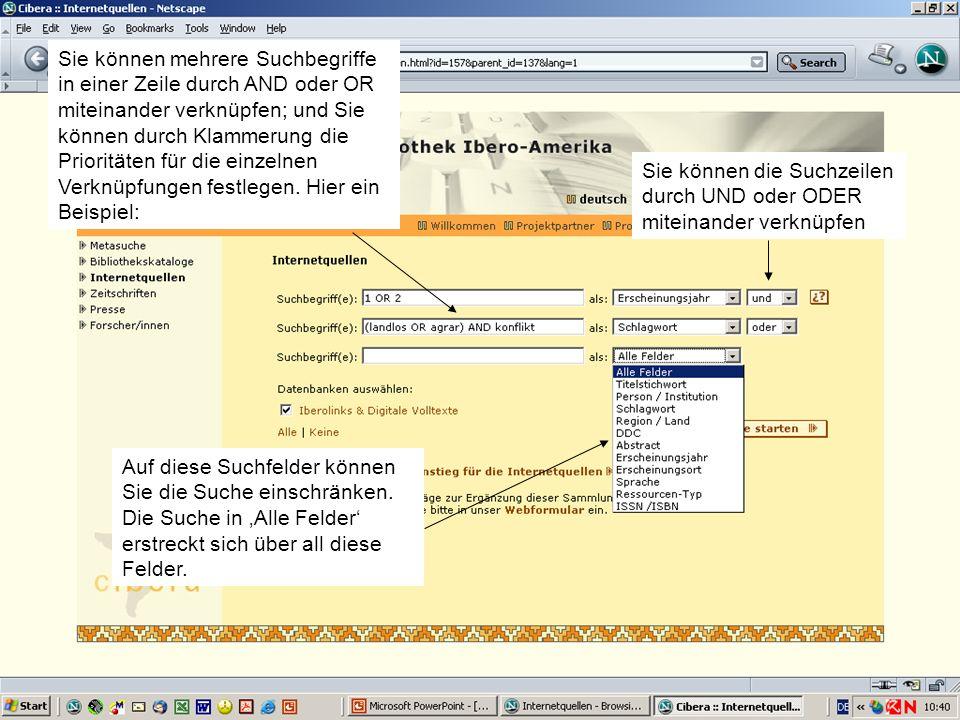 Hispanistentag in Bremen am 02.03.2005Christiane Jungblut5 Trick, um die Suche auf Volltexte einzugrenzen Nur Volltexte haben einen Eintrag im Feld Er