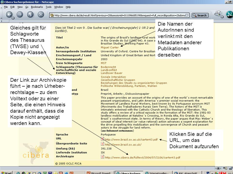 Hispanistentag in Bremen am 02.03.2005Christiane Jungblut7 Ergebnisliste Klicken Sie auf den Titel, um alle Metadaten einer Ressource angezeigt zu bekommen.