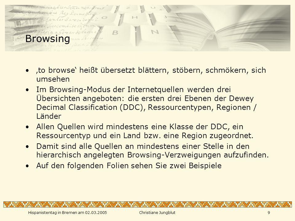 Hispanistentag in Bremen am 02.03.2005Christiane Jungblut8 Die Namen der AutorInnen sind verlinkt mit den Metadaten anderer Publikationen derselben Gleiches gilt für Schlagworte des Thesaurus (TWSE) und Dewey-Klassen Klicken Sie auf die URL, um das Dokument aufzurufen Der Link zur Archivkopie führt – je nach Urheber- rechtslage – zu dem Volltext oder zu einer Seite, die einen Hinweis darauf enthält, dass die Kopie nicht angezeigt werden kann.