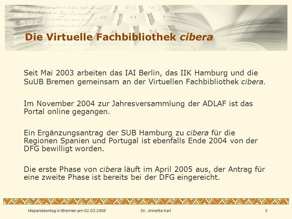 Hispanistentag in Bremen am 02.03.2005Dr.
