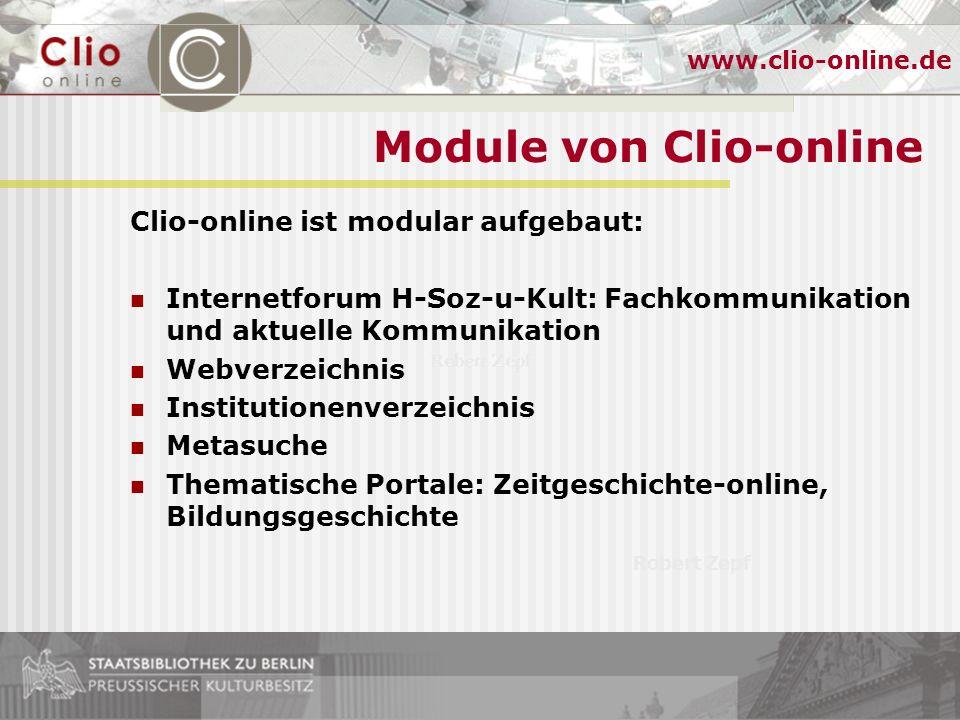 Robert Zepf www.clio-online.de Tagung Informationsmanagement online - Internetressourcen zu Ibero-Amerika Ibero-Amerikanisches Institut, 29/30.1.2004 Internetseiten von Clio-online www.