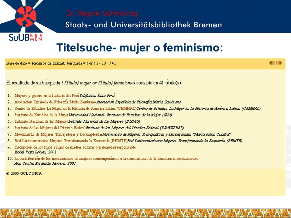 Titelsuche- mujer o feminismo: Dr. Regine Schmolling