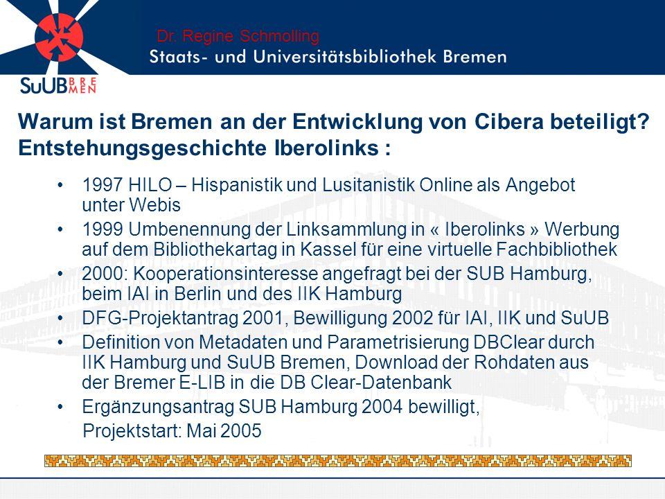 Warum ist Bremen an der Entwicklung von Cibera beteiligt? Entstehungsgeschichte Iberolinks : 1997 HILO – Hispanistik und Lusitanistik Online als Angeb