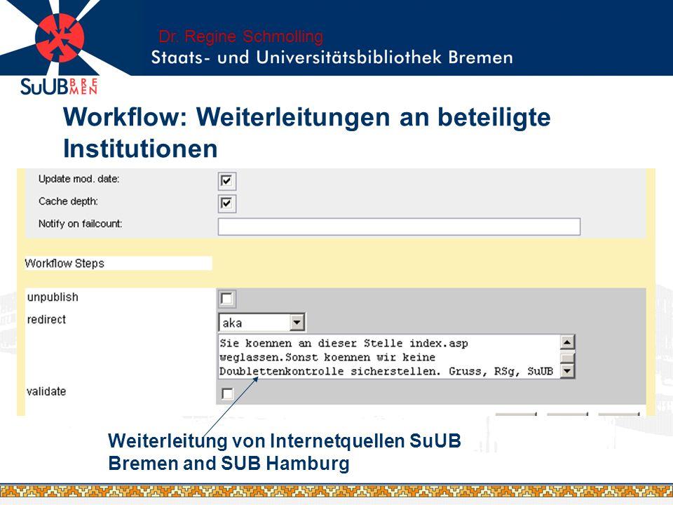 Weiterleitung von Internetquellen SuUB Bremen and SUB Hamburg Dr. Regine Schmolling Workflow: Weiterleitungen an beteiligte Institutionen