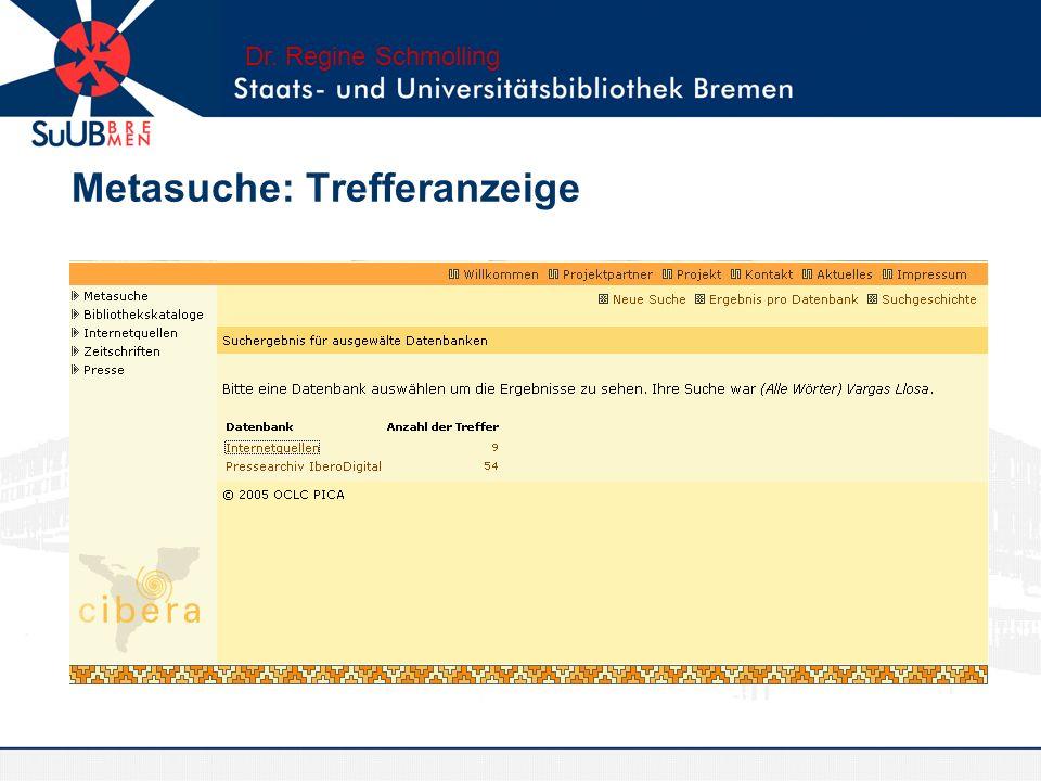 Metasuche: Trefferanzeige Dr. Regine Schmolling