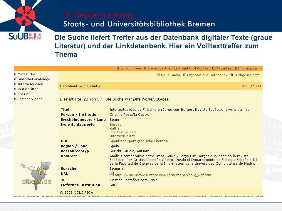 Workflow: Weiterleitung des Links an den Bearbeiter der SuUB Dr. Regine Schmolling