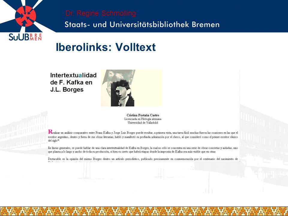 Lokale Einbindung Iberolinks in das lokale Portal E-LIB der SuUB Bremen: Wunsch einer Downloadschnittstelle cibera Dr.