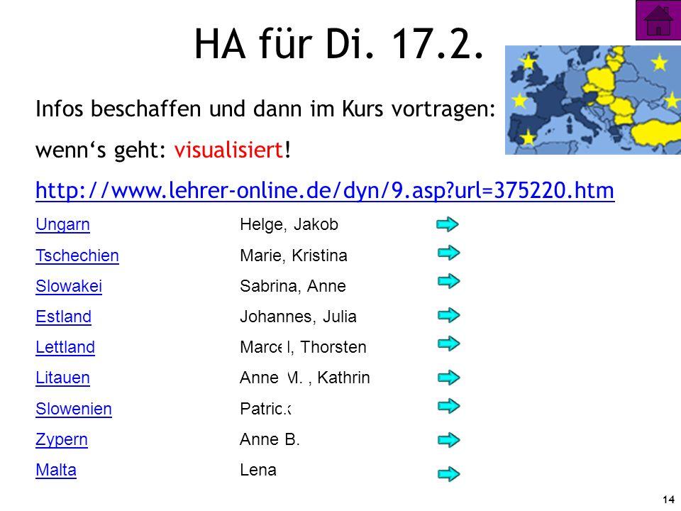 14 HA für Di. 17.2. Infos beschaffen und dann im Kurs vortragen: wenns geht: visualisiert! http://www.lehrer-online.de/dyn/9.asp?url=375220.htm Ungarn