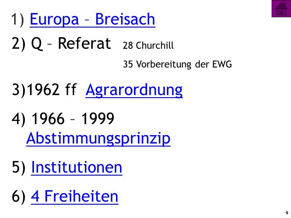 9 1) Europa – BreisachEuropa – Breisach 2) Q – Referat 28 Churchill 35 Vorbereitung der EWG 3)1962 ff AgrarordnungAgrarordnung 4) 1966 – 1999 Abstimmu