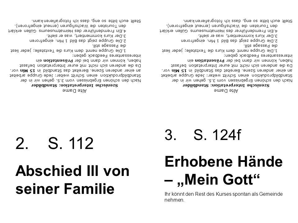 Alte Dame Szenische Interpretation: Standbilder Nach den schönen Ergebnissen vom 3.5.