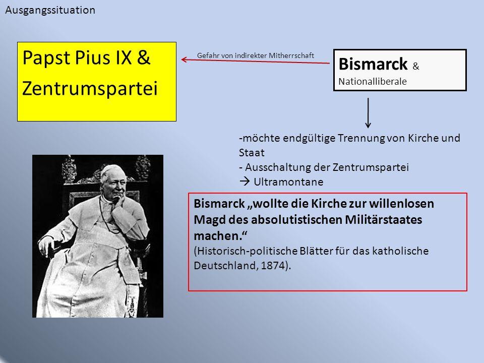 Papst Pius IX & Zentrumspartei Bismarck & Nationalliberale Gefahr von indirekter Mitherrschaft Ausgangssituation Bismarck wollte die Kirche zur willen