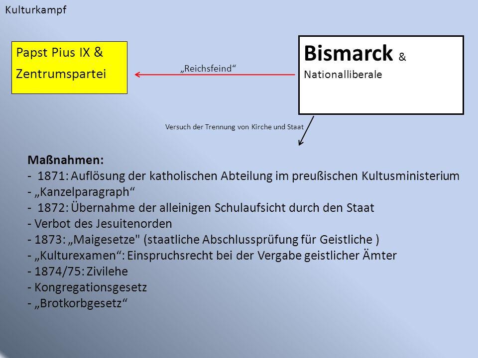 Bismarck & Nationalliberale Papst Pius IX & Zentrumspartei Versuch der Trennung von Kirche und Staat Maßnahmen: - 1871: Auflösung der katholischen Abt