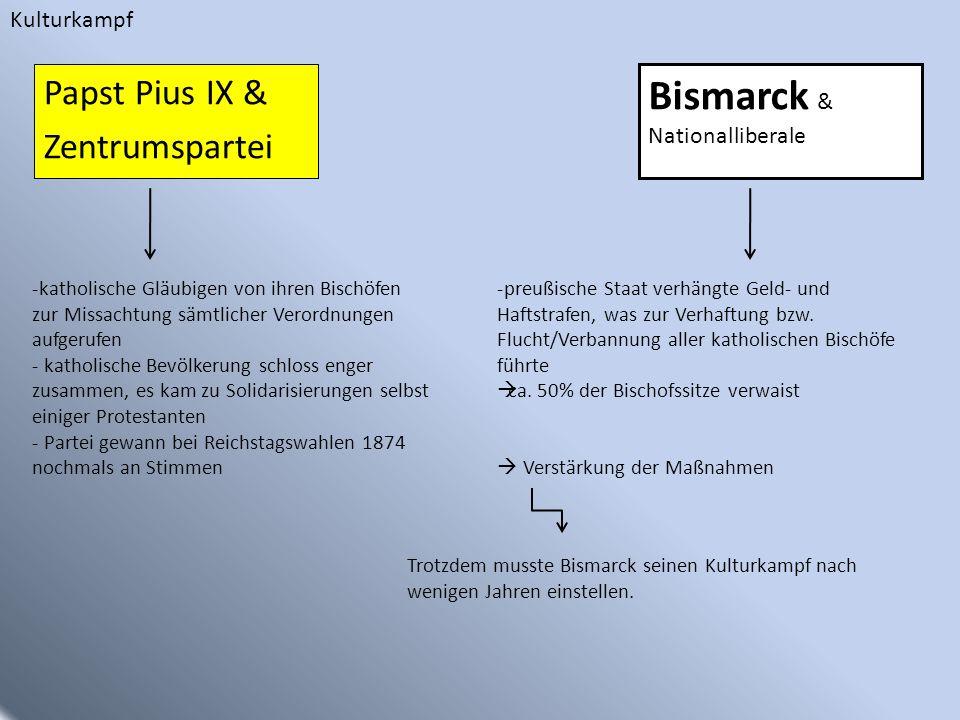 Papst Pius IX & Zentrumspartei Bismarck & Nationalliberale -katholische Gläubigen von ihren Bischöfen zur Missachtung sämtlicher Verordnungen aufgeruf