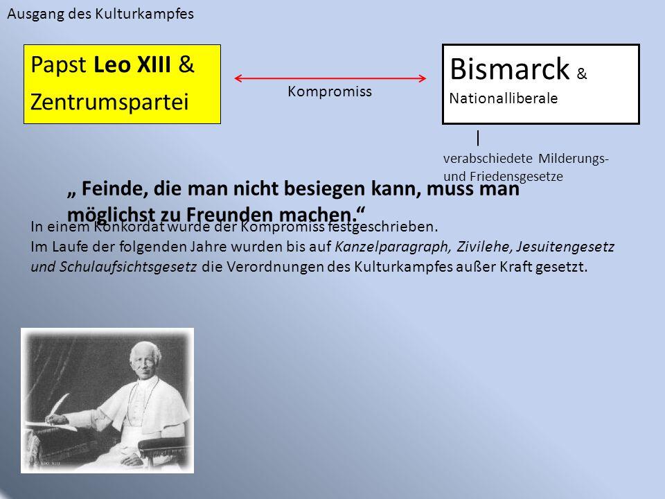 Bismarck & Nationalliberale Papst Leo XIII & Zentrumspartei Kompromiss In einem Konkordat wurde der Kompromiss festgeschrieben. Im Laufe der folgenden